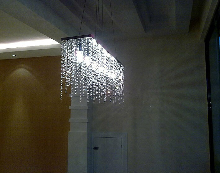 Modern Rectangular Raindrop Crystal Chandelier Pendant Lamp Lighting Fixture for Dining Room