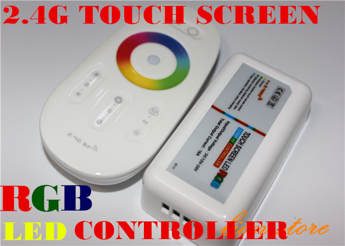 DC12-24A 18A RGB led controller 2.4G touch screen RF remote control for led strip/bulb/downlight,1set/lot for 5050 RGB STRIPS