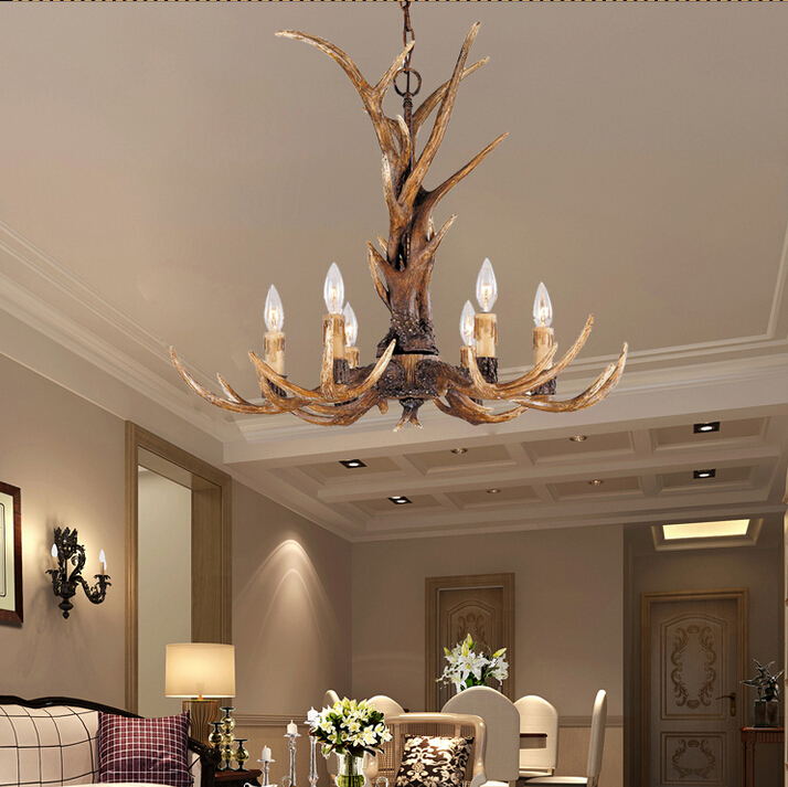Europe Country 6 Heads Chandelier American Retro Lamps Fixture Resin Deer Horn Antler Lampshade Decoration E14 110-240V