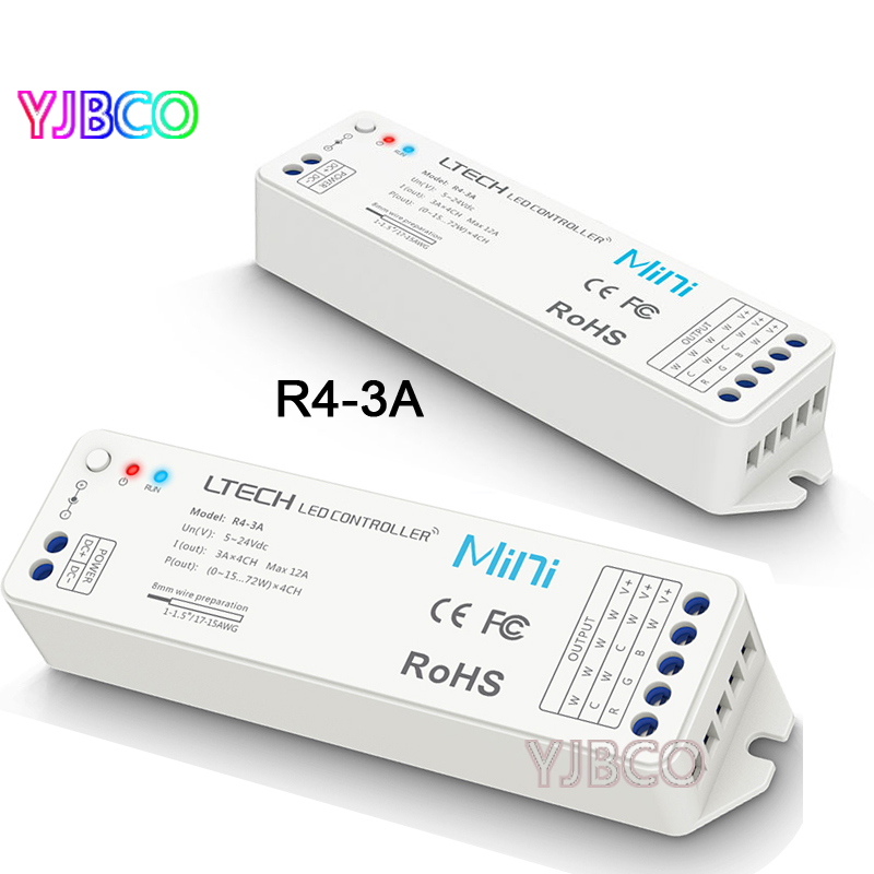 Wireless receive constant voltage R4-3A CV match the model V1 RF dim remote controller,RGB controller for LED strips tape