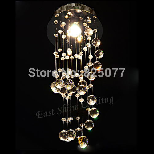 Modern Clear Waterford Spiral Sphere LED Lustre Crystal Chandelier Ceiling Lamp Home Decor Suspension Pendant Lamp Fixture CP41