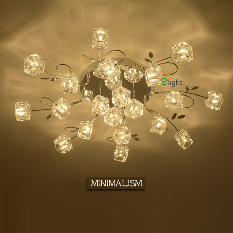 Modern Chrome Metal Leaf Led Ceiling Chandeliers Lustre Crystal Dining Room Dimmable Led Chandelier Lighting Chandelier Lights