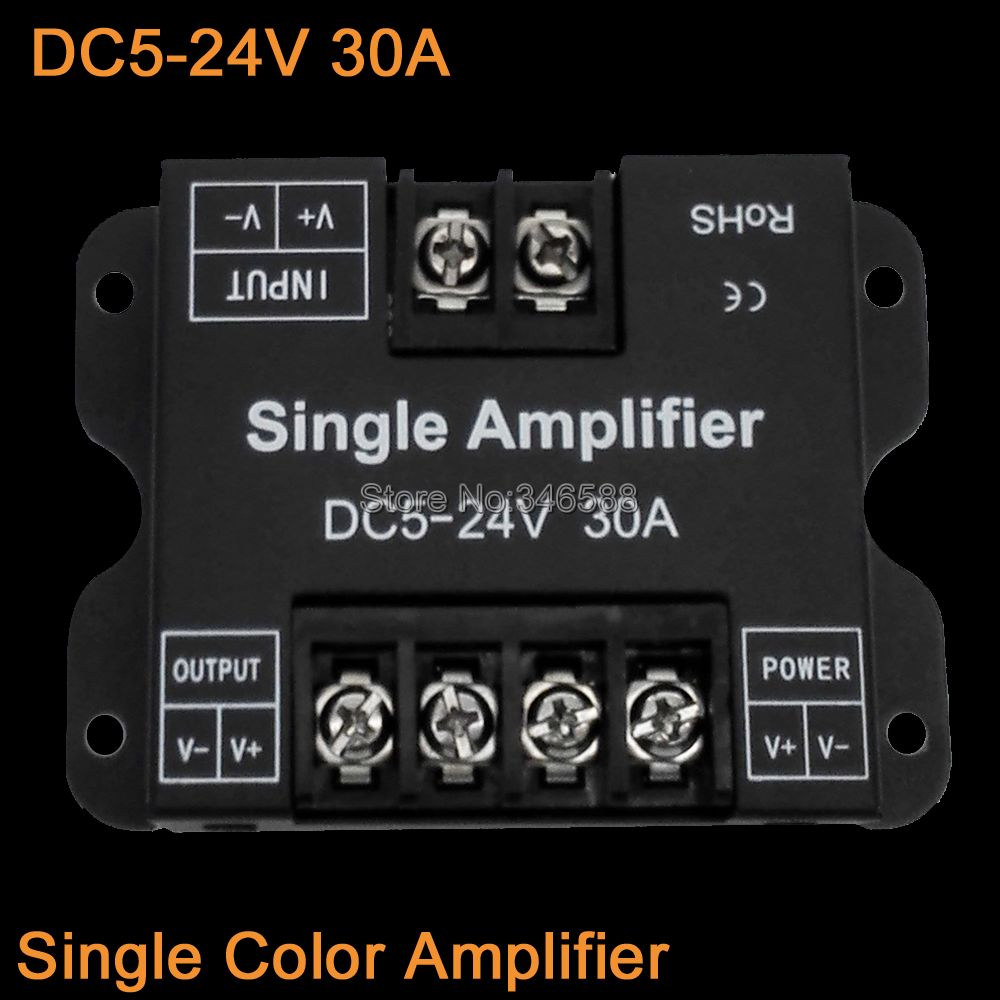 DC5-24V 30A Single Color LED Amplifier Signal Repeater 1CH Power Amplifier for Single Color 5V 12V 24V LED Strip Lights