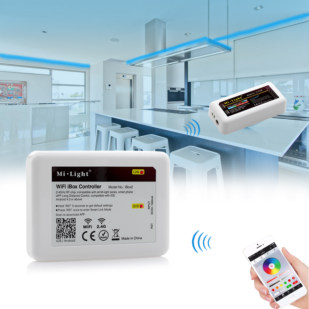 New DC5V Mi.light Wireless Wifi iBox2 controller compatible with IOS/Andriod system Wireless APP Control for CW WW RGB bulb