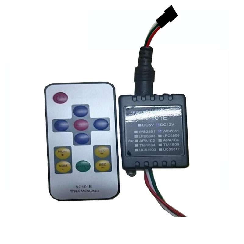 1X SP101E LED  RF wireless controller can control WS2801,WS2811,LPD6803  LPD8806,APA102,APA104,TM1804,TM1809,UCS1903,UCS9812