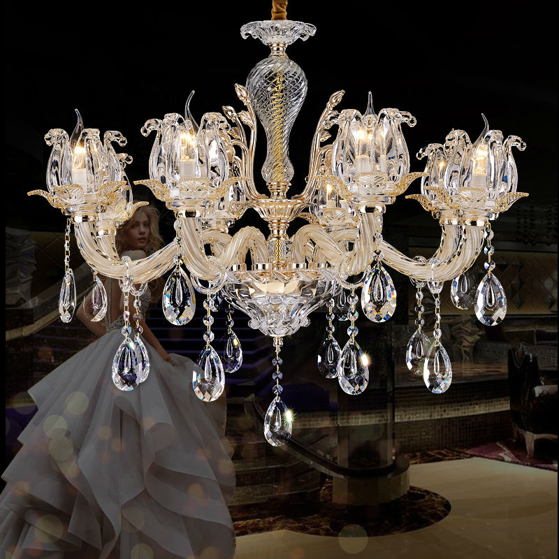 Large crystal chandelier 8 Arms Luxury crystal light Fashion chandelier crystal light Modern Large chandeliers Diameter 80cm
