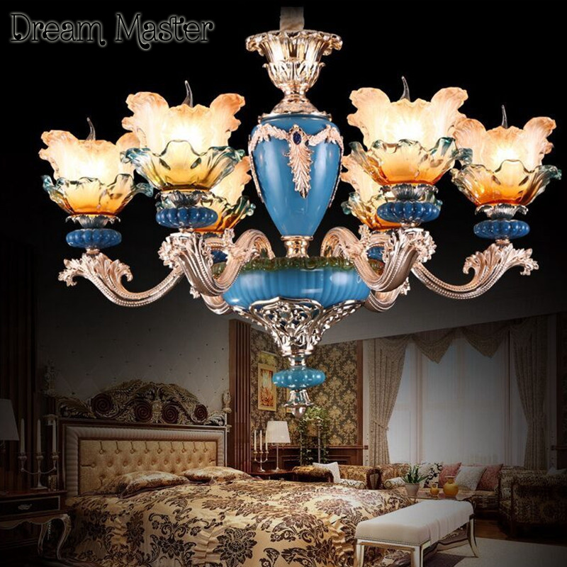 French ceramic painting chandelier living room  dining room bedroom retro atmosphere  European style luxury crystal chandelier