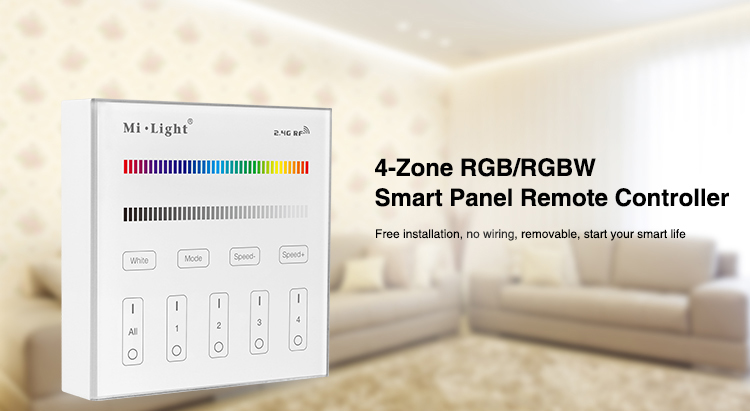 Milight B3 4-Zone RGB/RGBW and brightness dimming Smart Panel Remote Controllerfor led strip light lamp or bulb