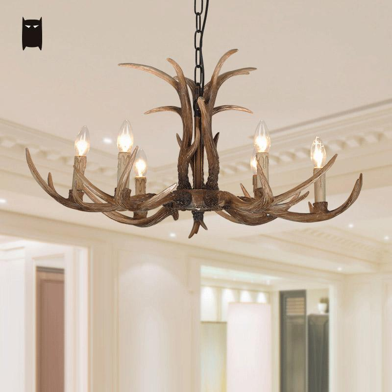 Resin Deer Horn Antler Chandelier Light Fixture Retro Vintage Industrial Antique Ceiling Hanging Lamp Lustre Luminaria Salon
