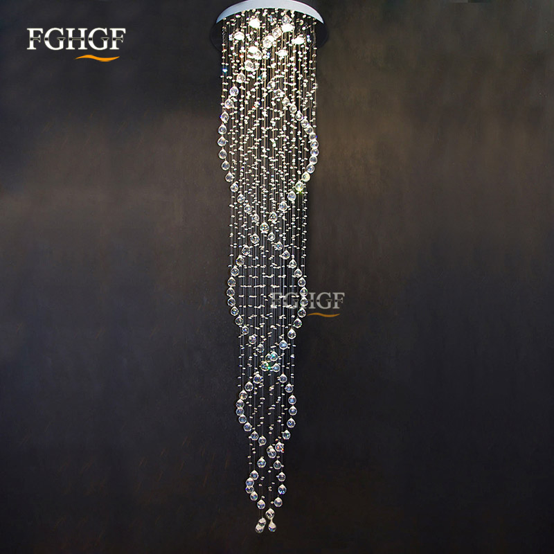Long design Crystal Chandelier Light fixture spiral lustres light fitting flush mounted Crystal Stair foyer stairs lobby Lamp
