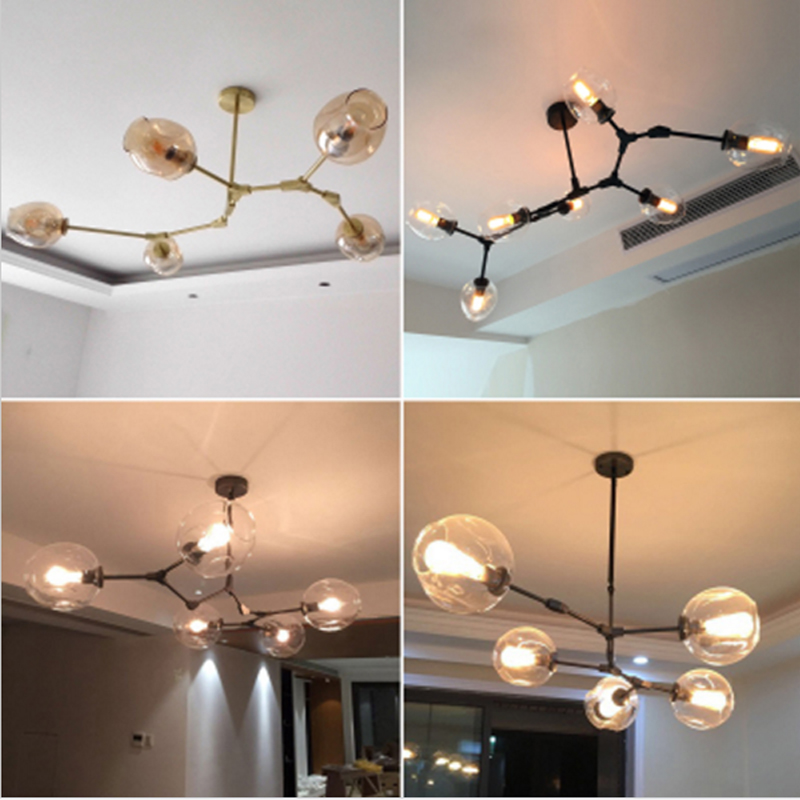 American LED molecular glass chandeliers villas clothing stores Nordic restaurants lights individual branches decorative lights