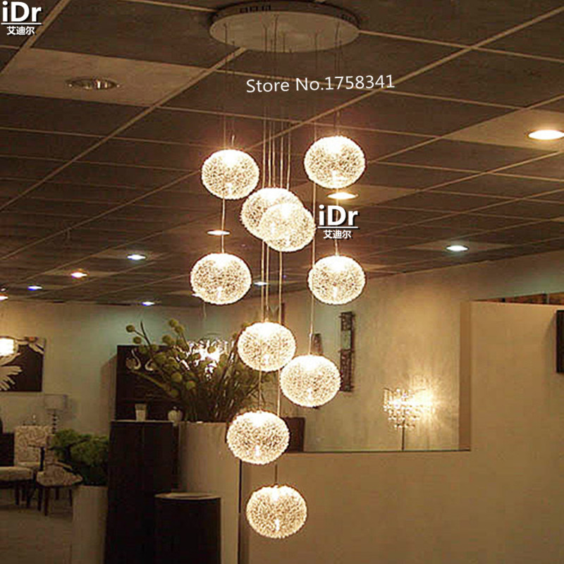 Large Long Stair E14 Round Ball Chandelier 10 Lights lustres de teto Glass Pendant Lamps modern home lighting fixtures