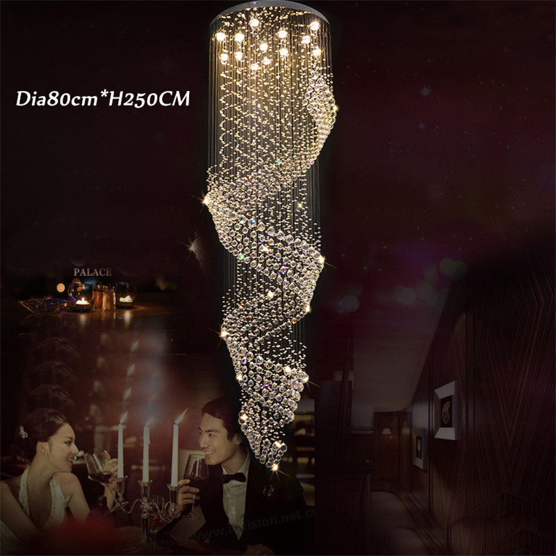 Long Size Crystal Chandelier Light Fixture for Lobby, Staircase Lustre, Stairs, Foyer Large Crystal Lmap Stair Lighting
