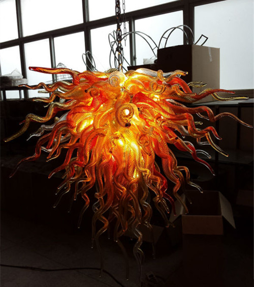 Cheap Glass Gold Chandelier Lighting Fixture Dale Chihuly Style Hand Blown Hanging Chain Chandelier
