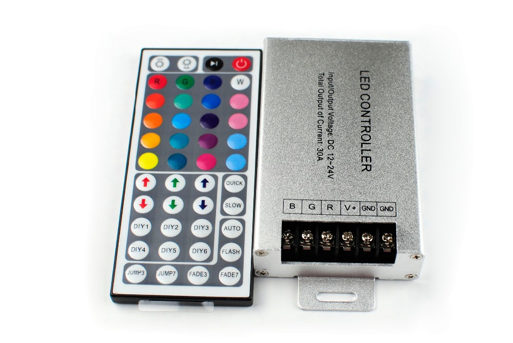 RGB LED Controller Aluminum DC12-24V 30A Led Dimmer With 44keys  IR Remote for RGB Led Strip Low Price