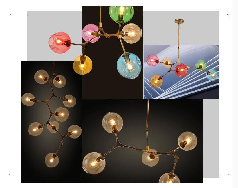 11 lights New Nordic industrial wind glass chandelier molecular  ball creative modern villa  free of charge Edison light