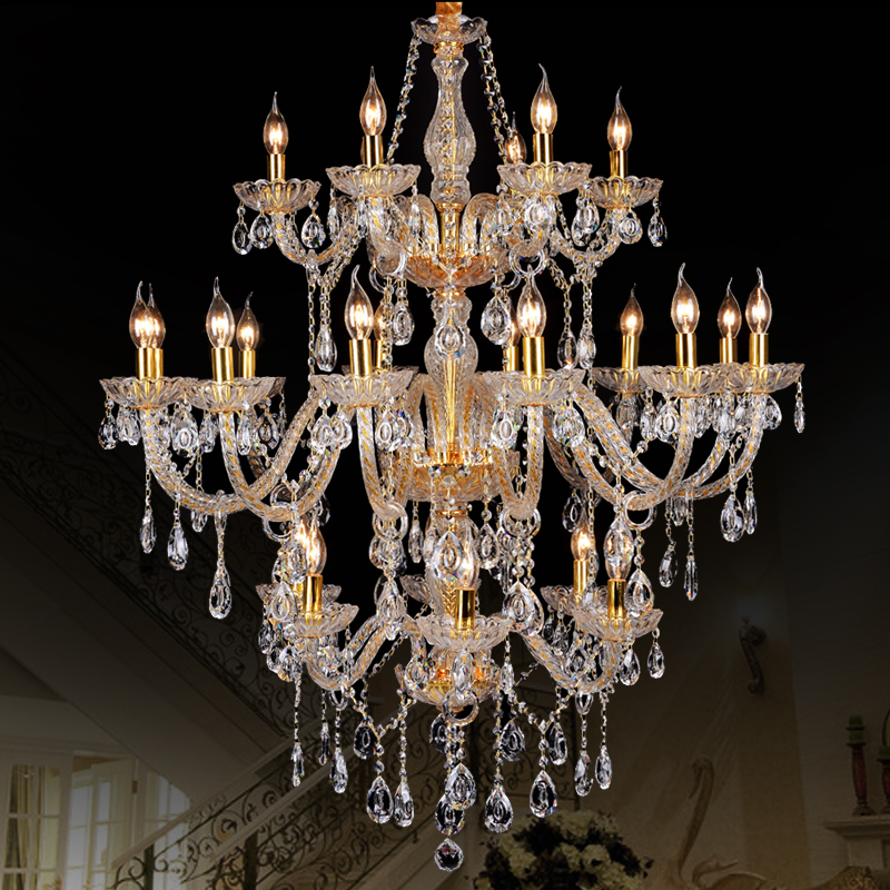Morden 3 layer 24 Arms Large Gold crystal chandelier stair Long Crystal Chandelier Lighting Restaurant Hotel Hall villa large
