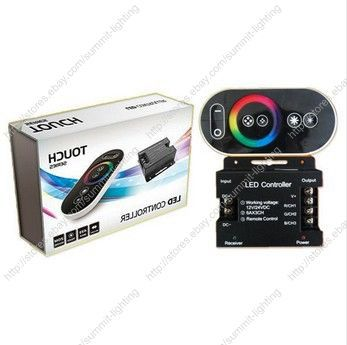 DC12V-24V 18A RGB LED Controller with RF Full Touch Wireless Remote & Color Wheel  for 5050 or 3528 SMD RGB LED Striplight