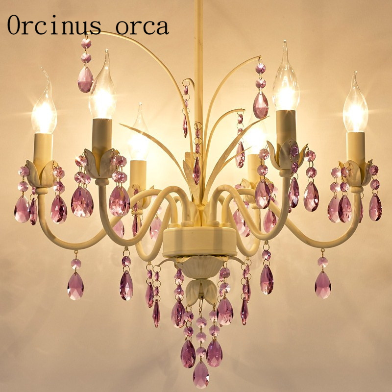 American garden pink crystal chandeliers Princess rooms girls' bedrooms dining rooms European style candles chandeliers