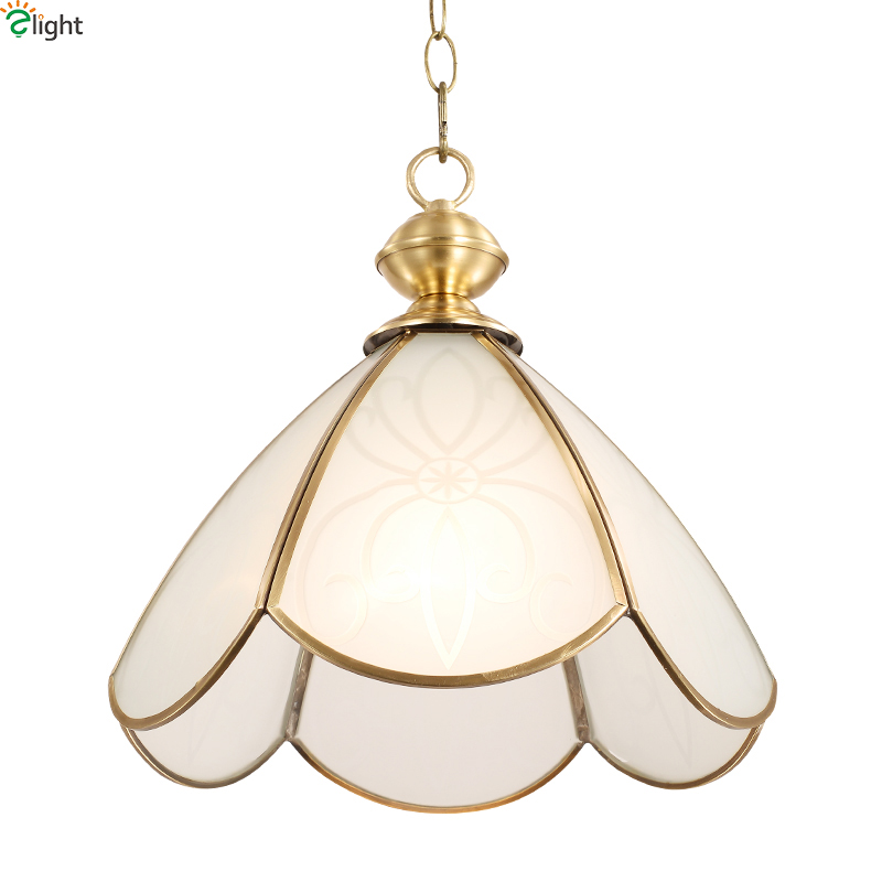 Europe Lustre Copper Led Pendant Chandeliers Lamp Glass Dining Room Led Chandelier Lighting Luminaria Led Hanging Light Fixtures