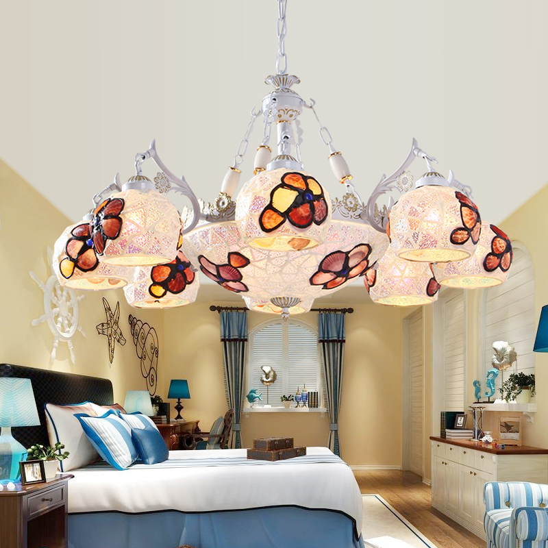 INDOOR LAMPS Chandeliers, shells, sparkling glass, Mediterranean style decoration, home restaurant lights