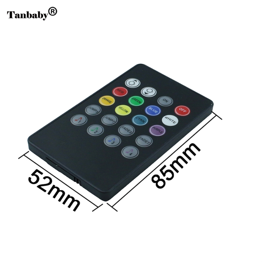 Tanbaby LED Music IR Controller 12V 6A 20 Keys IR Remote Controllers for 3528 5050 RGB Flexible LED Strip Light Mini Controller