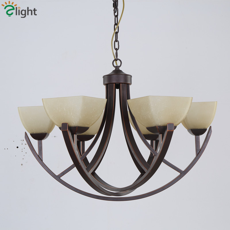 American Retro Rural Iron Led Chandeliers Lustre Glass Dining Room Led Pendant Chandelier Lighting Bedroom Led Hanging Lights