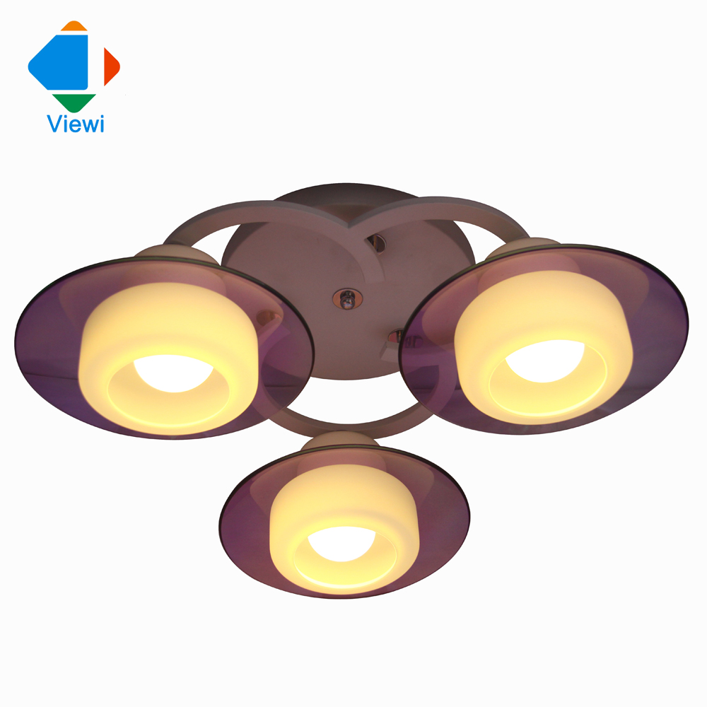 modern chandelier for living room 3*E27 base purple glass cover white Lampshade Frosted glass for children room Free DHL