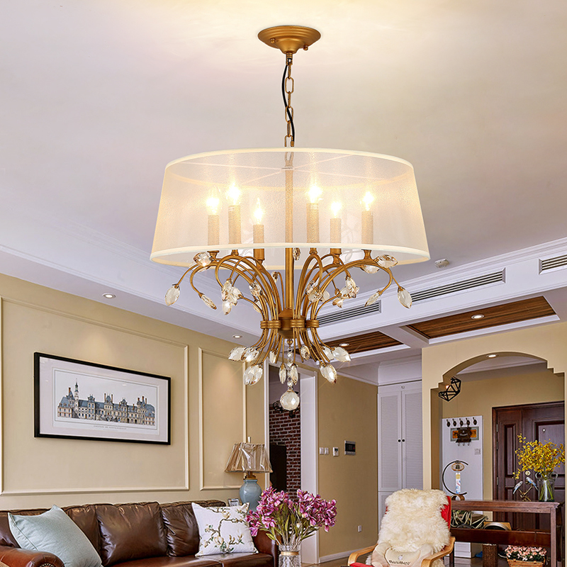 American style K9 crystal chandelier gold bedroom chandelier with lampshade lighting fixtures living room suspension 110V/220V