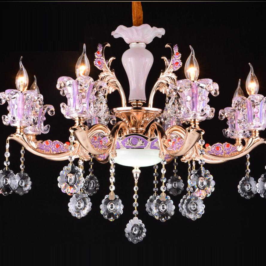 led e14 european jade zinc alloy pink candle crystal chandel