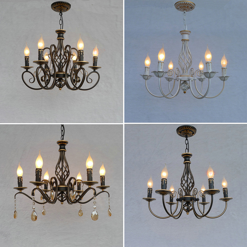 HGhomeart Nordic Hanging Lighting Fixtures Antique Iron Chandelier Led E14 Crystal Retro Dining Room Chandeliers Luminarias Lamp