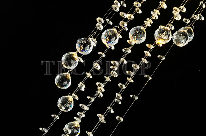 Best Price JH Modern LED Crystal Chandelier Diameter 20cm* Height 75cm Double Staircase Light Spiral Hanging Wire Crystal Lamp