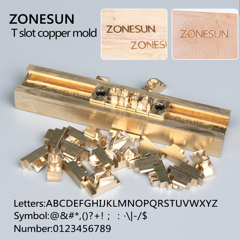 ZONESUN T-slot Brass Letters Die Cut Deboss Mold Hot Foil Stamp Copper Alphabet Press Set Customized Font DIY Character Mold