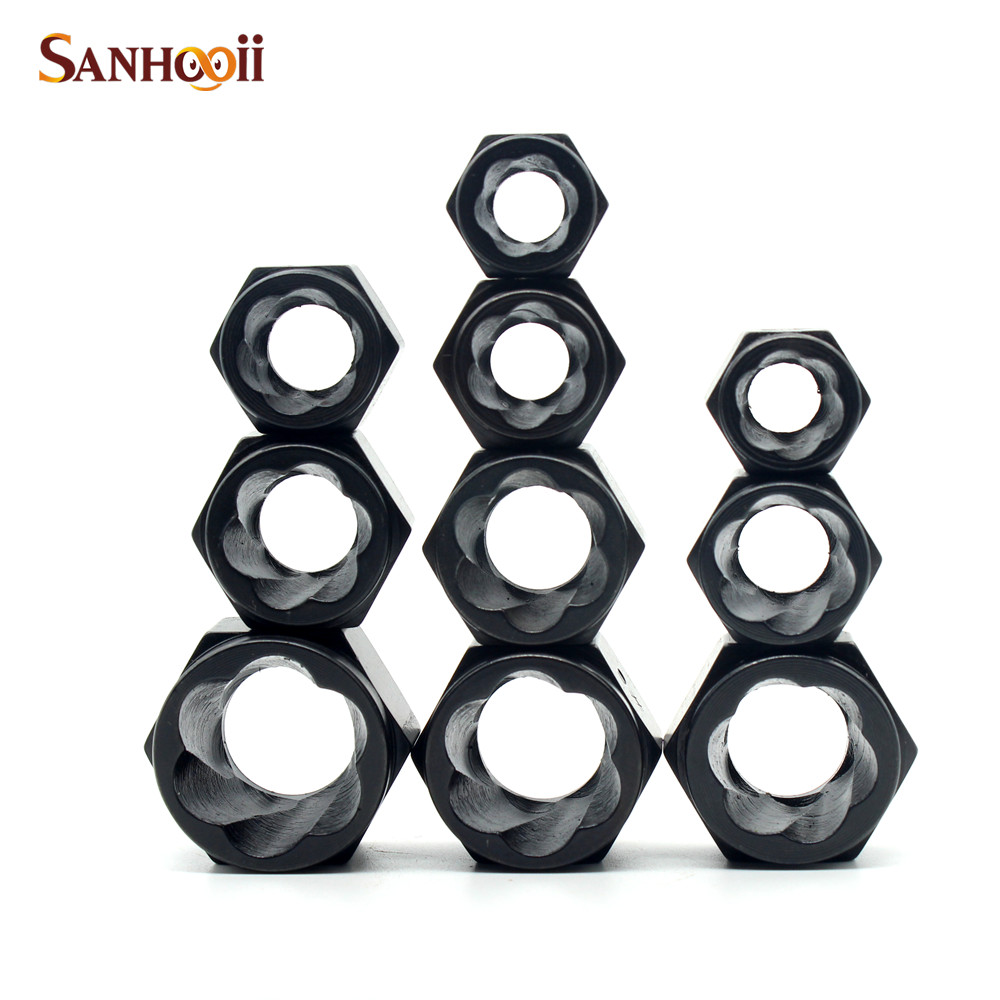 SANHOOII 10pcs Damaged Nut Bolt Remover Stud Extractor Set (#1-#10) Metric Broken Bolt Removal Kit