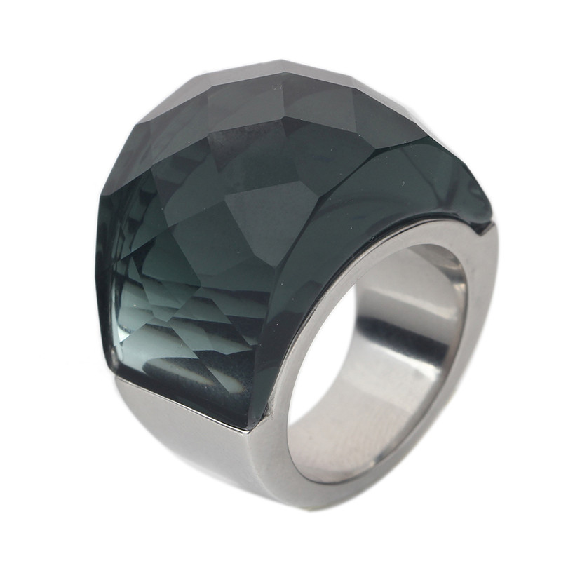 Fashion Big Crystal CZ Rings For Women And Mens Stainless Steel Ring