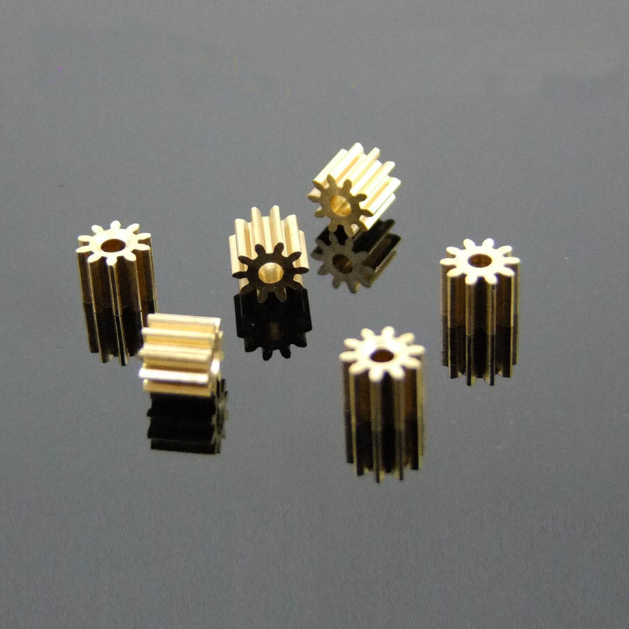 Fine Toy Gears102A Metal Copper Gears 0.5M 10 Tooth 1.95mm Shaft Hole for 2mm Axis Motor Spindle Axis Gear Wheel