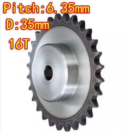 16Teeths D:33mm  25H /45steel precision small sprocket chain wheel M5 standard screw hole  --Pitch: 6.35MM- hole d:6mm
