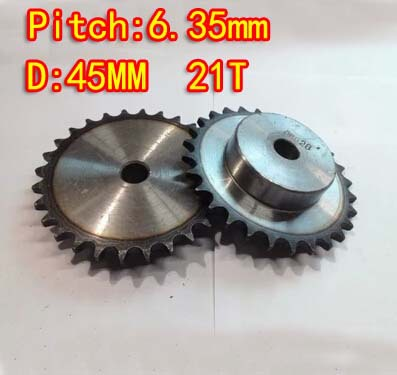 21Teeths  D:45mm  Precision 45 steel quenching sprocket small chain wheel M5 standard screw  -pitch 6.35 hole:8mm