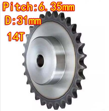 Diameter:31mm 25H /45steel-14Teeths  precision small chain wheel M5 standard screw hole  --Pitch: 6.35MM- hole d:6mm