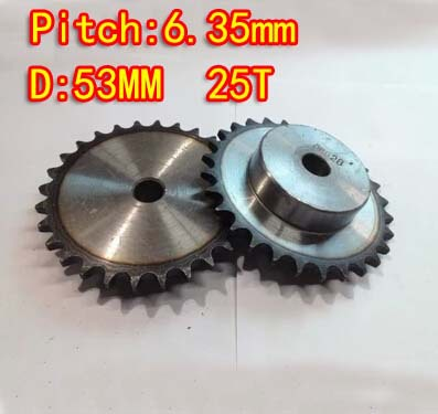 2pcs wholesale  25T D:53mm  Precision 45 steel quenching sprocket  chain wheel M5 standard screw  -pitch 6.35 hole8mm