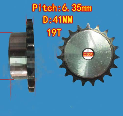 5PCS Freeshipping 19T D:41mm  Precision 45 steel quenching sprocket  chain wheel M5 standard screw  -pitch 6.35 hole:6mm
