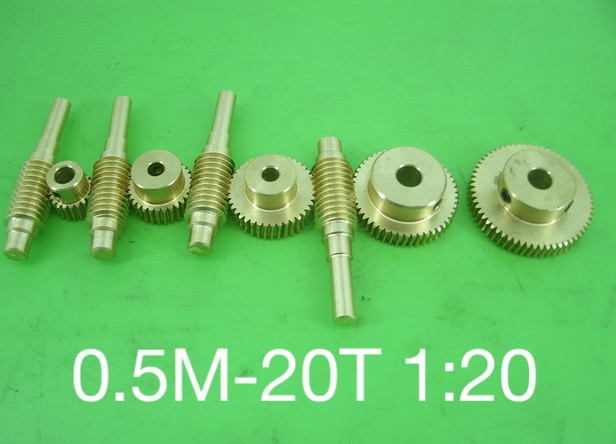0.5M-20T  1:20 worm rod and worm gear wheel Reduction ratio motor essential combination-Outer Diameter:12.4mm  Hole:3mm