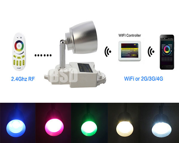 2.4G  WiFi Phone Control  LED RGBW 7W AC86-265V Color Changing Two Lines Adjustable Track Rail Spot Light Lamp