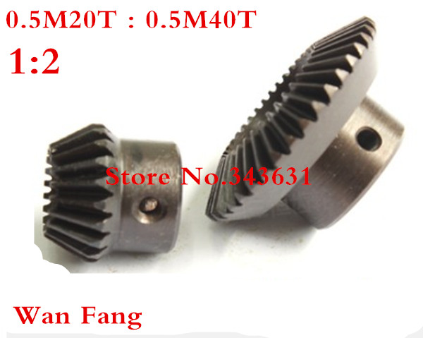 2PCS 1M  1:2 Bevel Gear  1 Mod M=1 Modulus Ratio 1:2 Bore Steel  Right Angle Transmission parts machine parts DIY