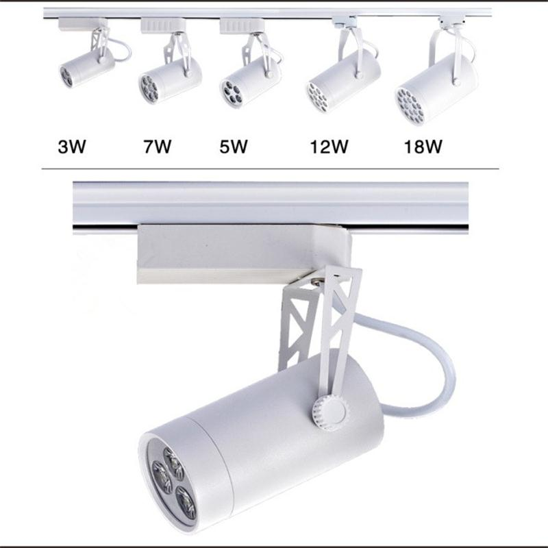 LED Track Light 3W Indoor Lighting Rail Lamps Spotlight Clothing Shoe Shop AC85-265V Warm White Black Housing Ceiling Spotlight