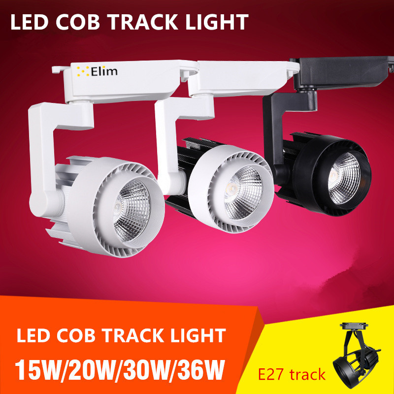 LED Track light cob 15w 20w 30w 36w 2 phase 3 phase Clothing Shop Windows Showrooms Exhibition Spotlight COB Ceiling Spot Lamp
