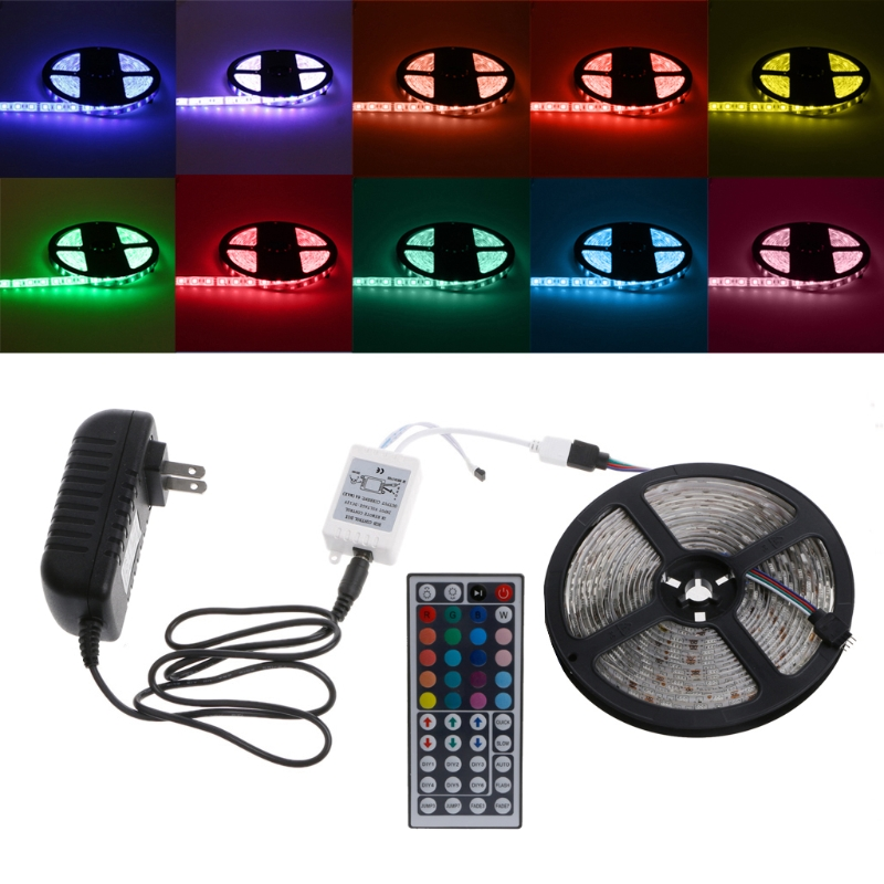 Multicolor Waterproof 5m 300 LED 5050 SMD RGB Strip Light 44 Key Remote DC 12V