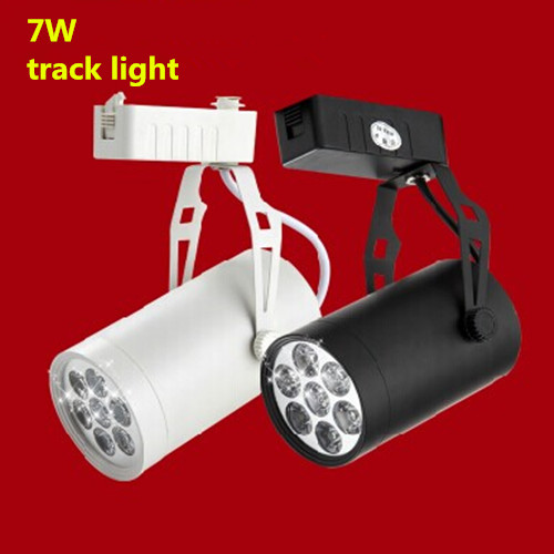 4pcs/lot 7W Noverty led track lighting AC85-265V aluminum white and black shell rail ceiling light spotlight
