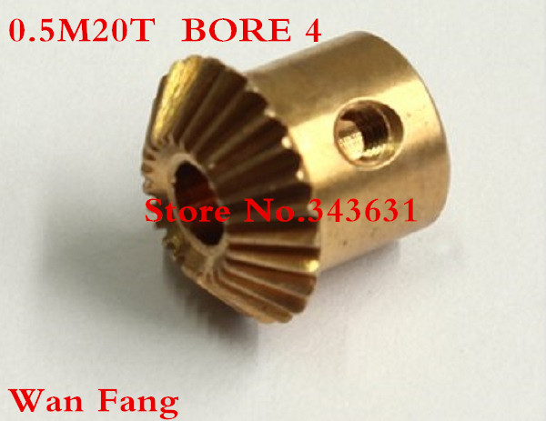 A pair Bevel Gear  20T 0.5 Mod M=0.5 Modulus Ratio 1:1 Bore 4mm Brass Right Angle Transmission parts machine parts DIY