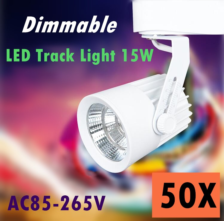 50pcs/lot LED lights Dimmable 15W COB Led Track Light Spot Wall Lamp Soptlight Tracking led AC 85-265V lighting Free shipping